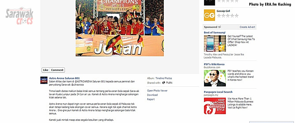 Arena apologizes again, congratulates Sarawak over championship