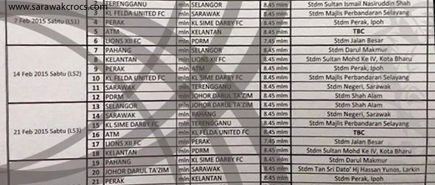 The MSL schedule obtained by us, said to be from Liga FAM.