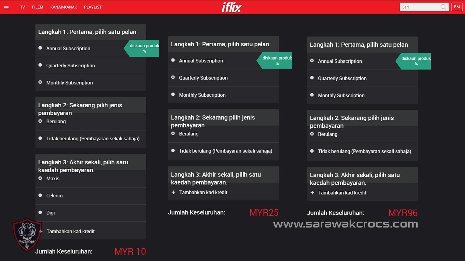 Bayaran iFlix mengikut tempoh langganan